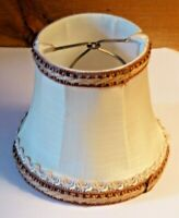 Small Vintage Fabric Lampshade with Braided Top & Bottom