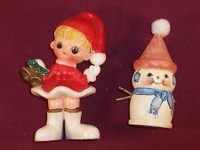 Vintage Christmas elf Santa hard plastic and hand painted wood snowman figure