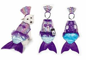 Iridescent Mermaid Dog Costume Mythical Blue Purple Shimmery Shell Top - Large