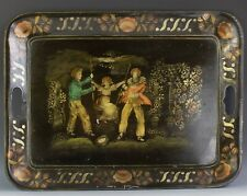 "LARGE 23 3/8"" Antique 19c Metal Children Playing on Swing Tole Toleware Tray JTM"