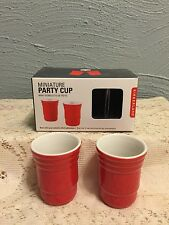 Kikkerland Porcelain Red Solo Cup Party Drinking Cups 2, Minature Shot Glasses