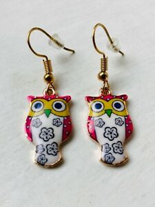 CUTE RETRO OWL Earrings Pink, White, Yellow Enamel Size 2.0 x 0.7 cms