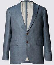 M&S Mens Collezione Pure Linen Tailored Fit 2Button Jacket Blazer Size 42 Medium