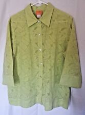 Hearts Of Palm Women's Size 18 Short Sleeve Button Front Blouse Lime Green F21