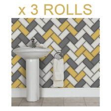 Yellow Grey Chevron Tile Wallpaper 3D Geometric Glitter Sparkle Holden Decor x 3