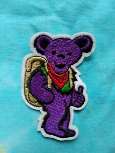 Grateful Dead Purple Bear Embroidered Iron on patch 3x2