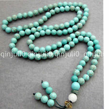 6mm 108 pcs Natural Blue Turquoise Beads Mala Necklace JN1354