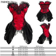 Negro Corsé Corpiño Burlesque Elegante Rouge ENCAJE CON VARILLAS CORSÉS fk10