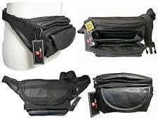 """Real Leather Bumbag Extra Very Large 48"""" Waist Multi 7 Pocket Bum Bag HEAVY DUTY"""