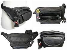 """Cuero Auténtico Riñonera Extra Muy Grande 48"""" Cintura Multi 7 Bolsillo Bum Bag Heavy Duty"""