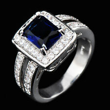 Sapphire CZ Ring Crystal Circle Size 6-10 Women's 10Kt White Gold Filled Wedding