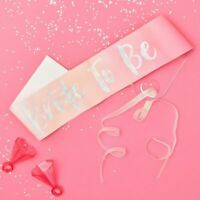 Bride To Be Sash Hen Party Decorations Pink Silver Irradiscent Bachelorette