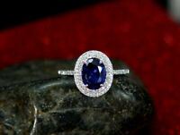 4Ct Oval Cut Blue Sapphire Dual Diamond Halo Engagement Ring 14K White Gold Over