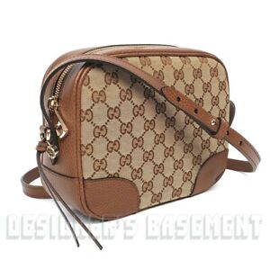 Authentic GUCCI Bree Guccissima GG Leather Canvas Crossbody Shoulder Bag 449413