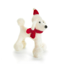 Amica Fairtrade Felt Poodle Dog Christmas Xmas Tree Hanging Decoration Santa Hat