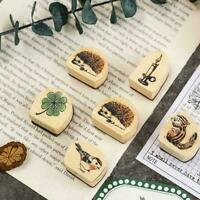 1PC Sweet Pattern Wooden Wood Rubber Stamp Stamper Seal Craft Diary  ☆ Supe K3E0