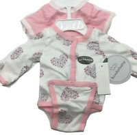 Koala Baby Pink Preemie 2 Pack Bodysuit Long SleeveNew Free Shipping 100% Cotton