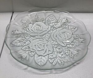 Clear Glass Serving Plate Rose Pattern