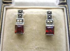 Chique Genuine Garnet CZ, Marcasite & Silver Earrings