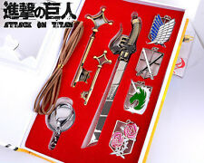 7PCS Attack on Titan Emblems Keychains Key Necklace and Sword Collection Anime