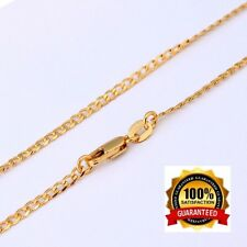 18k Gold Necklace Mens Cuban Stylish Curb Link Chain +GiftPkg D555