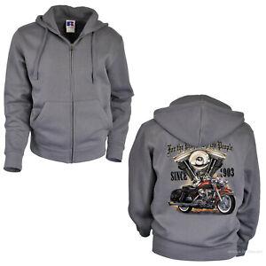 Biker Jacke Kapuze Motorrad classic Harley-Motiv Motorbike Hoodie *4081x grau