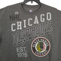 Majestic Chicago Blackhawks NHL Mens Short Sleeve Graphic T-Shirt Grey Size XL