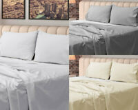 EGYPTIAN COTTON FLAT SHEET WHITE GREY CREAM 400 THREAD COUNT LUXURY PILLOW CASE