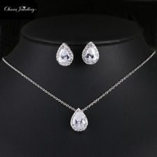 18K White Gold Cubic Zirconia Pendant Necklace & Earrings Wedding Set Jewellery