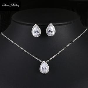 Cubic Zirconia Pendant Silver Necklace & Earrings Bridal Wedding Set Jewellery