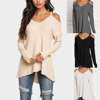 Women's Casual V-neck Tops Long Sleeve Cold Shoulder T Shirt Tee Blouse