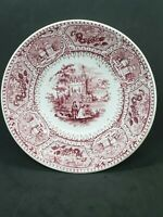 Francis Dillon Red Transferware Plate C1834-43 Abbey pattern Staffordshire 5 7/8