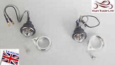 SPARE PARTS BULLET ROYAL ENFIELD PAIR 12v Bulb PILOT LIGHT White + CHROMED RIMS