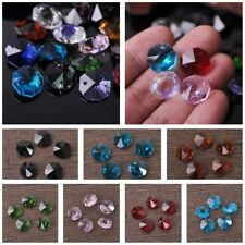 20pcs 14mm Octagon Faceted Crystal Glass Prism Decoration Beads Chandelier Parts