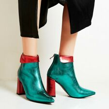 Womens Patent Leather Pointed Toe Ankle Riding Boots Block Heels Chunky Shoes