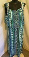 Plus Sz Autograph Blue Border Printed Jersey Flounce Paisley Maxi Dress Size 24