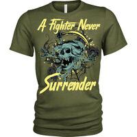 Never Surrender Skull Fighter Warrior MMA T-Shirt Unisex Mens