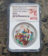 2016 Australia Monkey King 1 troy oz .999 Silver Coin NGC ms69 Colorized
