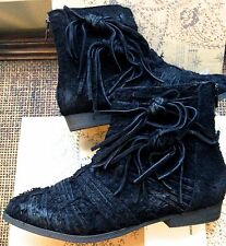 $178 BRAND NEW IN THE BOX FREE PEOPLE BLACK RAW SUEDE ANKLE LEATHER BOOTS SIZE 7