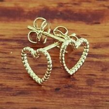 New Genuine 9ct 375 Solid Yellow Gold Heart Outline Stud Earrings