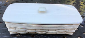 Longaberger White Washed  Bread Basket, protector and Woodscraft Lid RARE! 10370