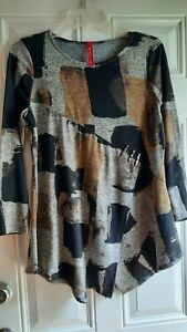 IC By CONNIE K Knit Tunic - S - Heathered Geo Print, Scoop Neck, L/Sleeves