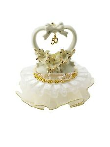 "50th Anniversary Cake Top with Heart Decorated in Gold and White 7"" Tall"