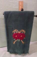 Green Christmas Hand Towel  Embroidered Burgundy & Gold Poinsettias Decorative