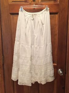 Antique Vintage White Cotton and Lace Tiered Long Half Slip Petticoat