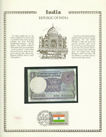 India 1 Rupee 1985 P 78 Ab UNC w/FDI UN FLAG STAMP Prefix 45N