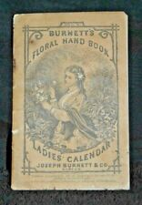 """1876 Antique Burnett's Advertising Calendar """"Cocoaine Gives New Life To Hair"""" @1"""