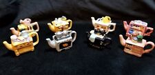 Red Rose Tea Miniature Teapots Cabinets Complete Set of 8 - (Home/Garden Themed)