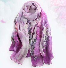 "100% Silk Women Scarf 68x43"" large Shawl long Wrap thin purple pink red S028-002"
