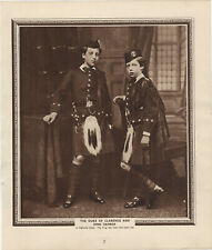 Vintage Sepia Print - Duke Of Clarence & King George (Aged 9) In Highland Dress